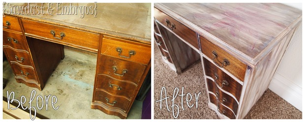 shabby flower desk