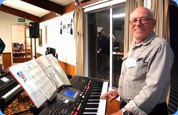 Our new Treasurer, Laurie Conder, playing his Roland G-70 for the arrival music and then Laurie played in the first half of the programme. Photo courtesy of the Club's photographer, Dennis Lyons.