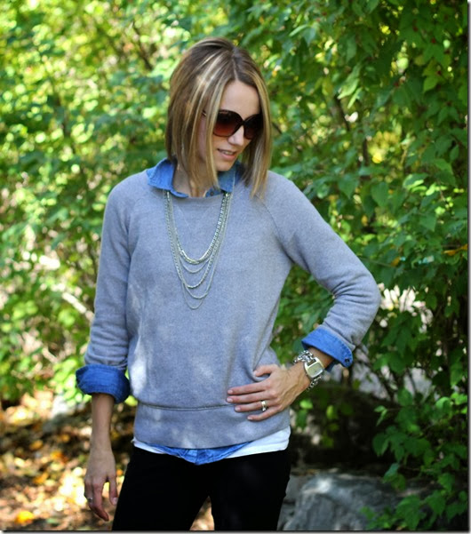 Chambray + Sweatshirt + Black Denim or Ponte Pants