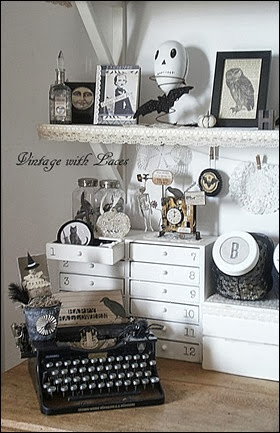 Black and White Halloween Decoration on Shelf