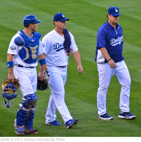 'AJ Ellis, Chad Billingsley and RIck Honeycutt @ Dodgers vs Giants 05-09-2012' photo (c) 2012, Gaston Hinostroza - license: https://creativecommons.org/licenses/by/2.0/