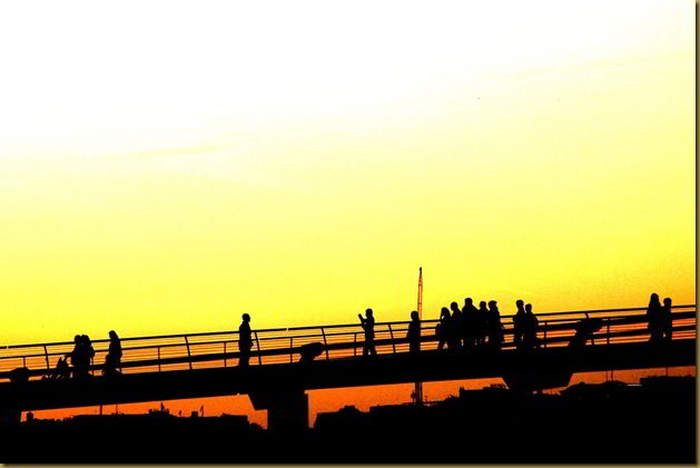 Sunset over London Millenium Bridge