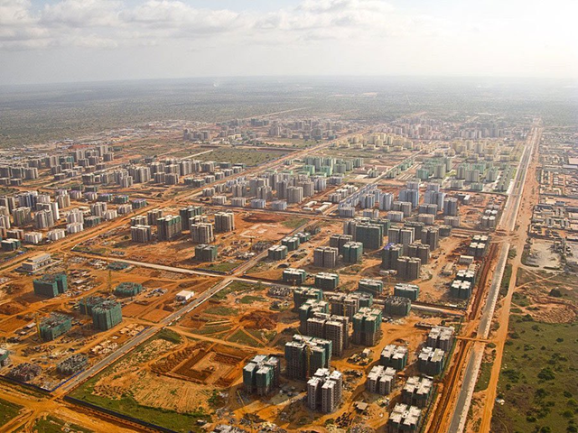 Aerial view of Nova Cidade de Kilamba, a residential development of 750 eight-story apartment buildings, a dozen schools, and more than 100 retail units outside of Angola's capital city of Luanda. ANGOLA (Albums) / Facebook