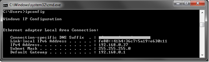 Finding the local IP address of the server.