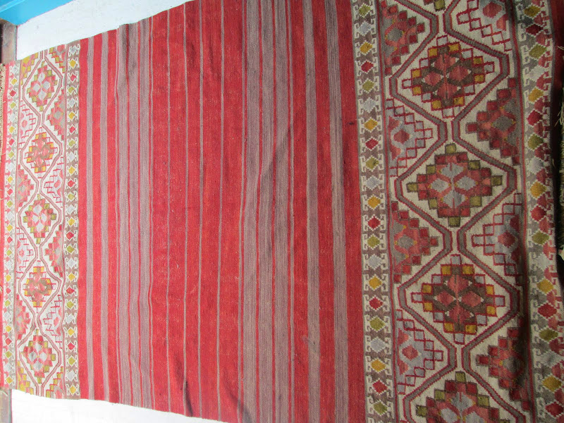 Kilim Red and Grey Rug