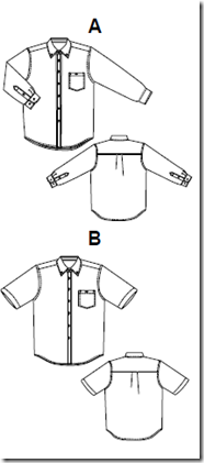 Jalie 2111 - Shirt for Men and Boys - line drawing