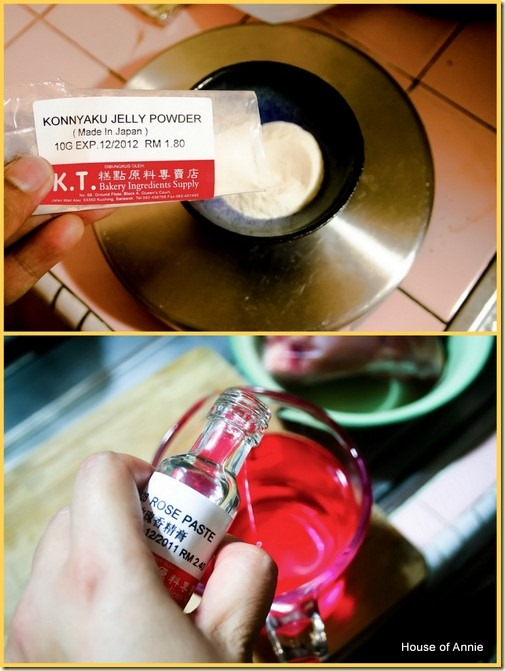 Konnyaku powder and rose syrup