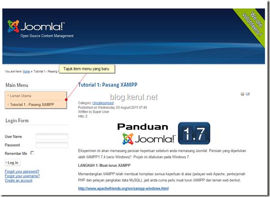 menu Joomla! 1.7 - papar laman web selepas edit menu Laman Utama