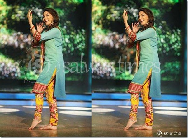 Madhuri_Dixit_Green_Yellow_Salwar_Kameez