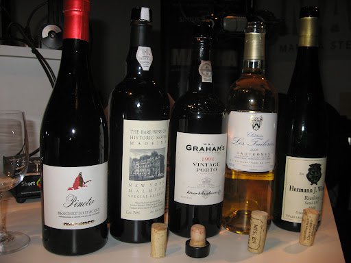 Greg brought in a selection of the five types of wine that paired well with Jennifer's five fall flavors.
