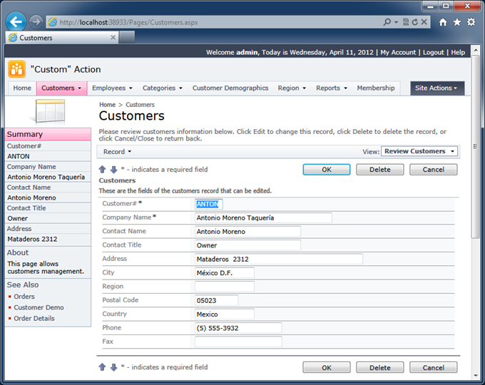 View 'editForm1'  in the Customers data controller of the Northwind sample