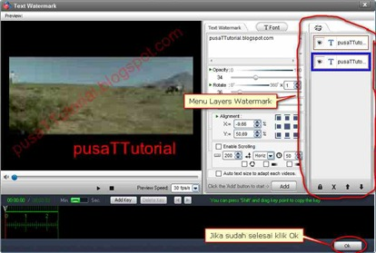 Menu layers dan tombol Ok Video Watermark Pro