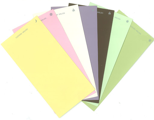 The following paint colors are from the Martha Stewart Living paint collection at Home Depot: Custard (MSL068), Sugared Pansy Pink (MSL006), Heavy Cream (MSL058), Wampum (MSL179), Chocolate Truffle (MSL221), Aurora Borealis (MSL089) and Calabash (MSL099). (homedepot.com)