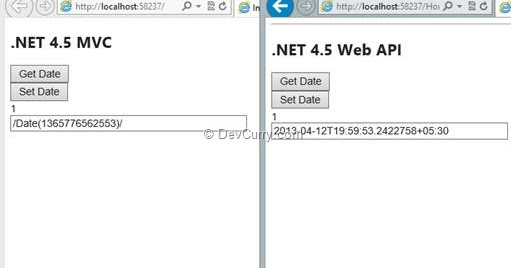 json dates are different in asp net mvc and web api