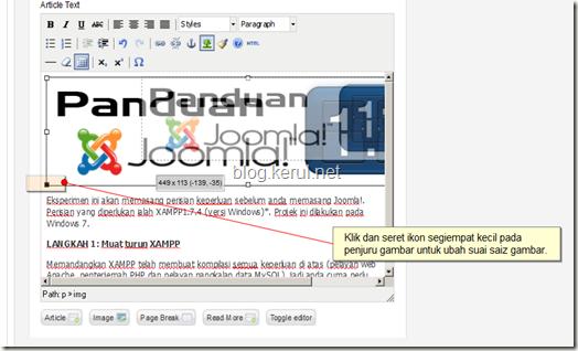 kemaskini artikel dalam Joomla - ubahsuai saiz gambar