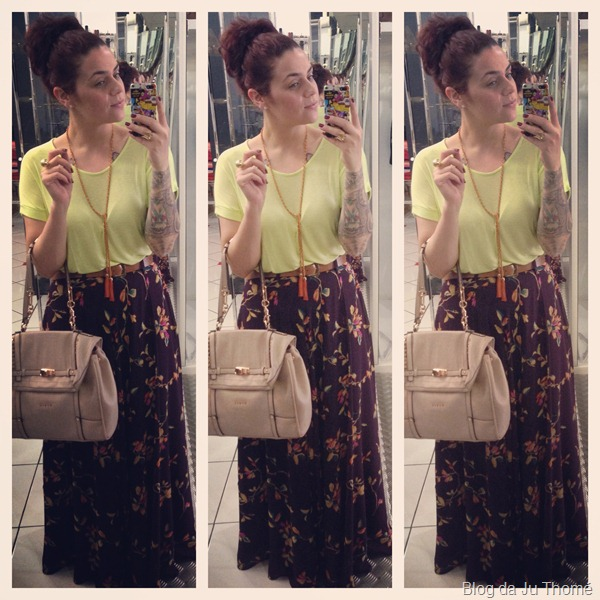 look saia longa estampada e blusa fluo