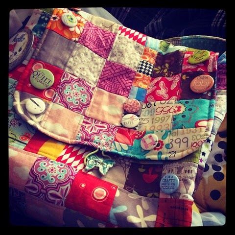 Charming Chunky Wee Bag for Project Quilting with buttons
