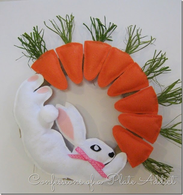 CONFESSIONS OF A PLATE ADDICT No-Sew Bunny and Carrot Wreath tutorial