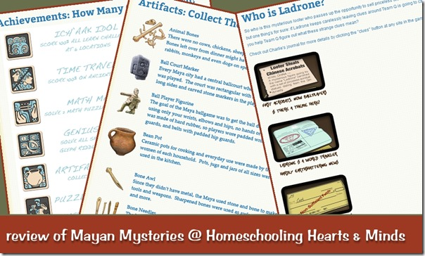 Mayan Mysteries by Dig-it! Games review @Homeschooling Hearts & Minds