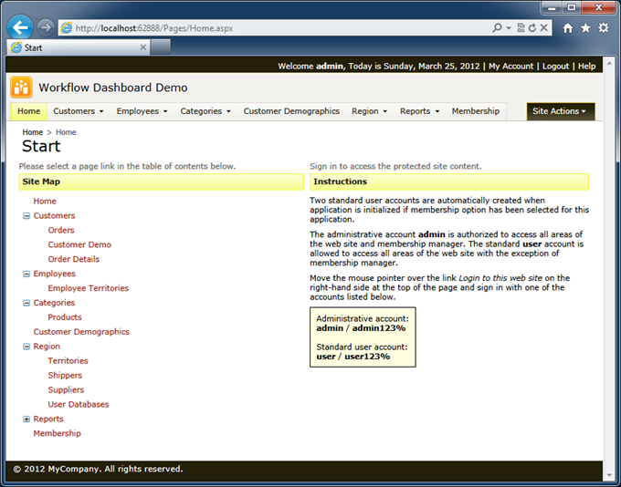 Standard home page of the Northwind sample created with Code On Time web application generator