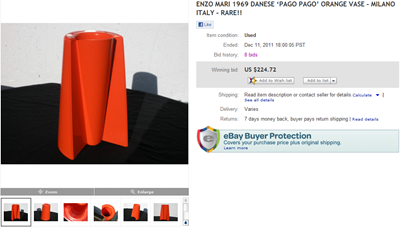eBay auction end screenshot, Pago Pago vase