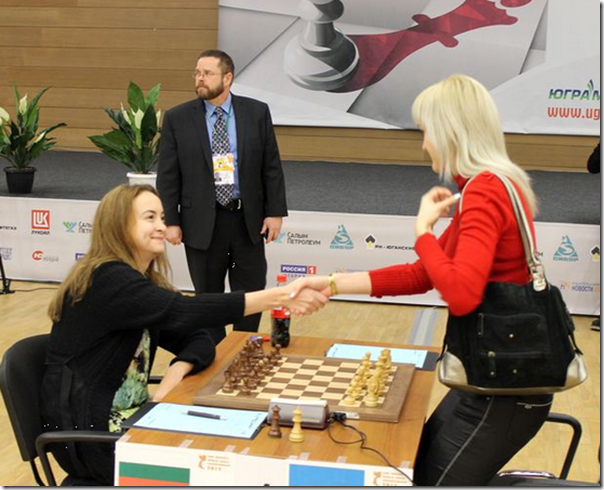 Stefanova vs Ushenina, Game 1, Finals, Womens World Chess Championship 2012 Khanty-Mansiysk, Russia