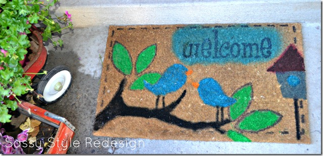 simply spray welcome mat finsihed close up