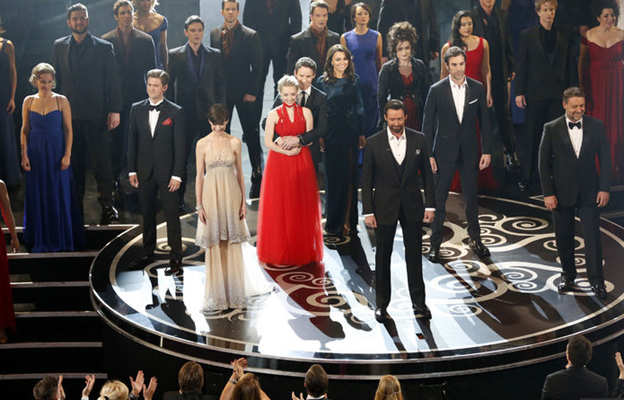 The cast of Les Miserable singing at the Oscars 2013
