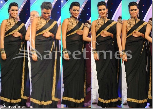 Neha_Dhupia_Black_Saree