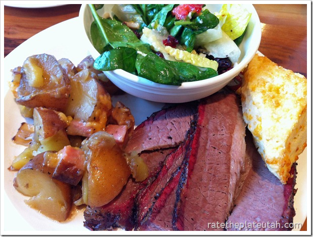 Molly's Lean Beef Brisket, Dutch Oven Spuds, Spinach Salad, Cheddar Biscuit