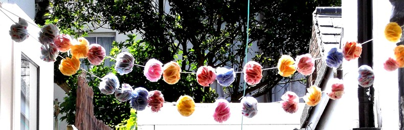 strung up flower balls
