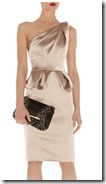 Karen Millen Gold Stretch Satin Dress