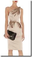 Karen Millen Gold Stretch Satin Dress