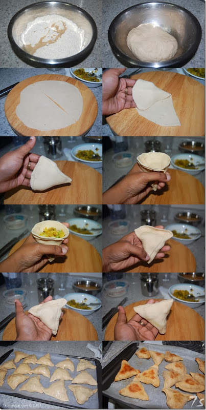 Baked samosa with potato stuffing process