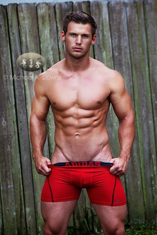 Dominic Draney in Red Adidas Boxer Briefs
