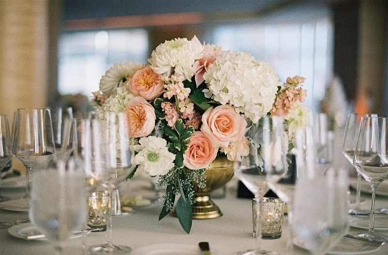 21 Oak and the Owl _ Peach Centerpieces