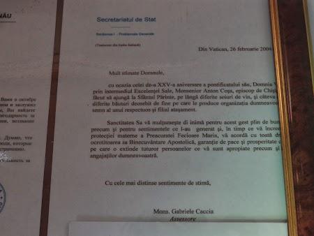Scrisoare Vatican - Kvint Tiraspol