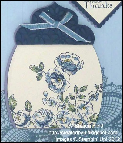 hello doily was stamped before embossing the bashful blue card stock