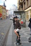 Kai waiting for a tram on Vodivocka Street
