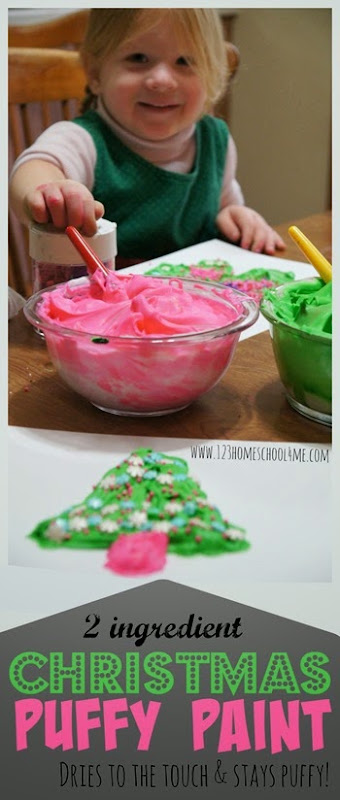 Christmas Puffy Paint Recipe - This recipe is AWESOME! It will dry to the touch while still staying puffy; plus it only uses 2 ingredients! Great recipe for play, crafts for kids, and preschool kids activities.