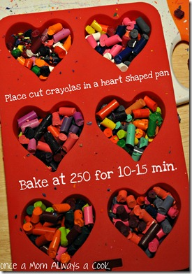 crayolas in a heart shaped pan