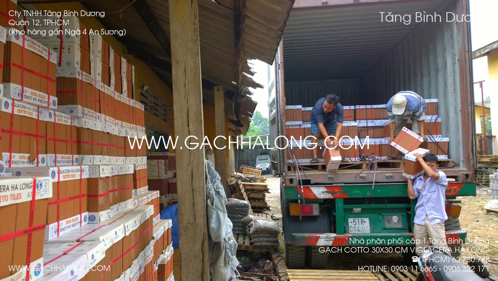xe container cho gach tau ha long