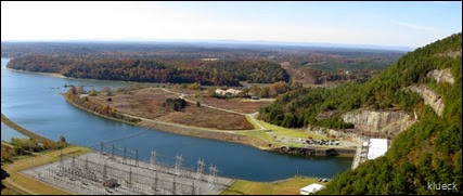 panoramic of Carters Lake Dam and electrical plant