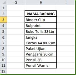 tabel bantu nama barang