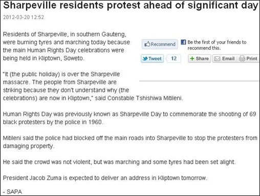 SHARPEVILLE protests because commemoration is held in Kliptown Soweto March 20 2012