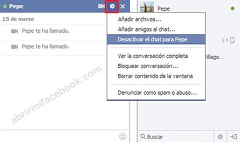 Desactivar el chat para un contacto específico