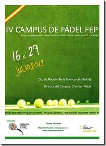 Campus Verano 2012 de la Federación Española de Pádel en el Club Fuencarral de Madrid programa