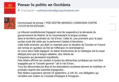 comunicat en francés de País Nòstre.