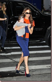 Victoria-Beckham-baby-girl-Harper-VB-SS2012-Color-Block-orange-blue-cap-sleeve-fitted-dress-Christian-Louboutin-daffodil-pumps-heels