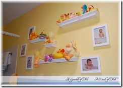 kids duck bathroom display wall {A Sprinkle of This . . . . A Dash of That}